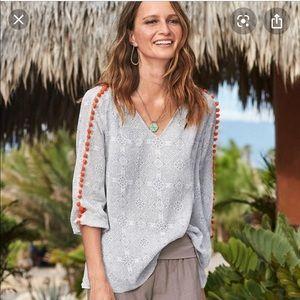 Sundance aslyn pom pom peasant blouse shirt top